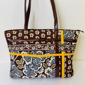 Vera Bradley Floral Zipper Tote Shoulder Bag